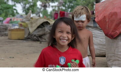 Kids in cambodian slums