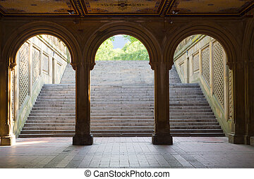 Bethesda, Central Park, New York - Three arches leading to...