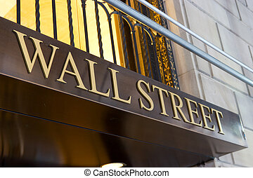 Wall Street Sign, New York - The words Wall Street written...