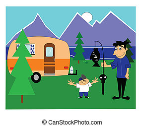 camping trip - father and son on camping trip with a fish...
