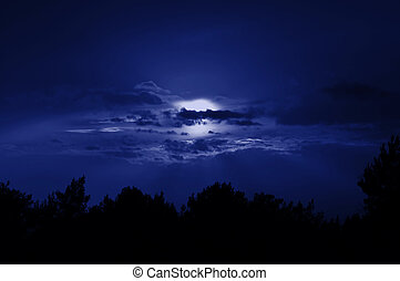 full moon night sky - Full moon obscured by clouds Night sky...