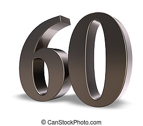 number sixty - metal number sixty on white background - 3d...