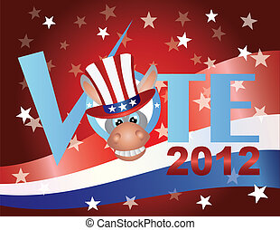 VoteDemocratDonkeyV - Vote Check Mark Text 2012 Democrat...