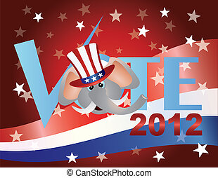 Vote Republican Elephant Illustration - Vote Check Mark Text...