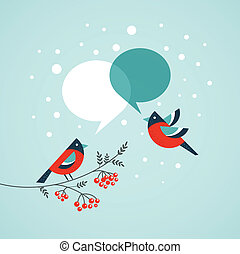 Christmas tree with birds and speech bubbles , vector