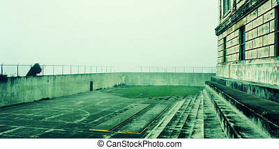 a view of the recreation yard of Alcatraz Federal...