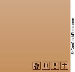 frágil, símbolo, marrón, cartón