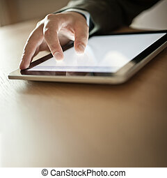Person Using Modern Tablet Device - Businessman Using Modern...