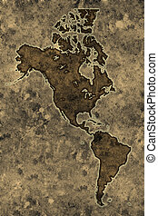 Parchment americas map - Americas map on an ancient grunge...