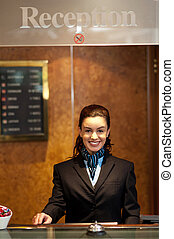 Charming pretty receptionist posing - Charming pretty young...