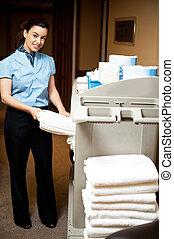 toalha, tarefas domésticas, banho, débito, puxando, saída