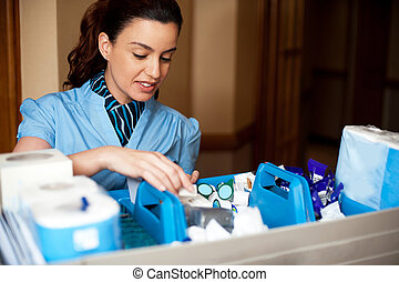 Pretty female housekeeper busy working. Checking and...