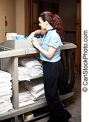 Pretty housekeeping executive busy working Checking...