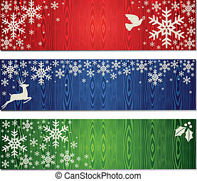 Christmas snowflakes banner backgrounds set - Reindeer, dove...