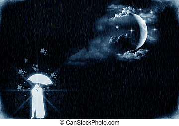 Lovers by the moonlight - Two young lovers under an umbrella...