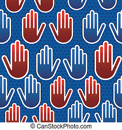 USA elections hand pattern - USA elections hand seamless...