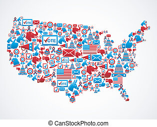 USA elections icons map - USA elections icon set in national...
