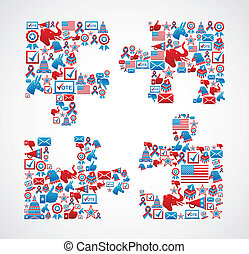 USA elections icons puzzle piece - USA elections icon set in...