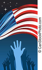 USA elections hand people vote with waving flag illustration...
