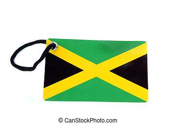 jamaica, bandera, etiqueta