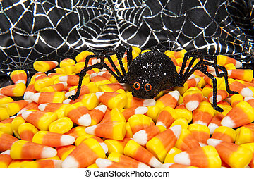 Halloween Spider with Candy Corn - Halloween spider with...