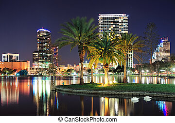Orlando night scene - Orlando downtown skyline panorama over...