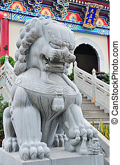 Chinese temple - Lion statue in Chinese temple in Hong Kong