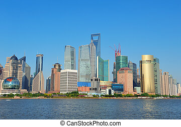 Shanghai skyline - Shanghai urban skyline with blue clear...