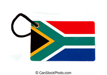 South Africa  flag tag isolated on white background