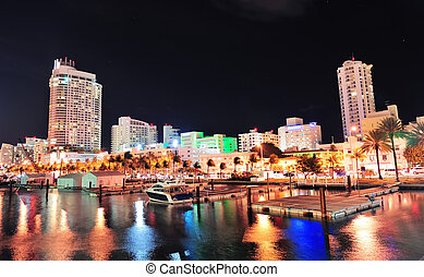 Miami south beach street view with water reflections at...