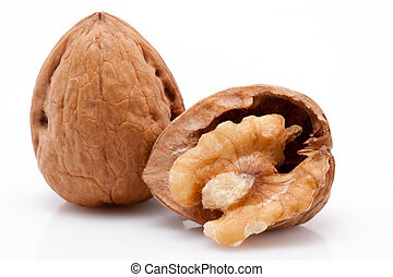 open walnuts on white background