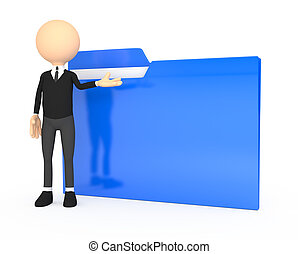 3d people - human character with folder.