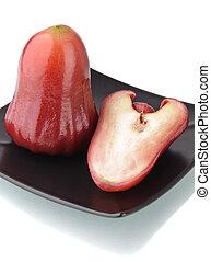 um, metade, vermelho, rosÈ, maçã, pretas, prato