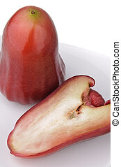 um, metade, vermelho, rosÈ, maçã, branca, prato