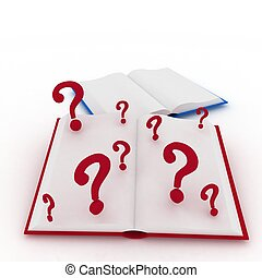 3d render illustration open books and a question marks.