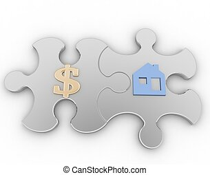 two puzzle with symbols of home and golden dollar  on a white background