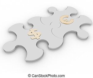 two puzzle with the symbols of euro and dollar on a white background