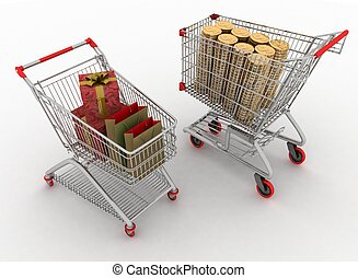 Shopping cart with boxes and dollars - concept of purchase...