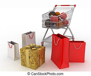 Beautiful bright Christmas balls and gifts in shopping cart...