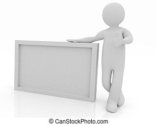 3d human with blank billboard isolated on white background