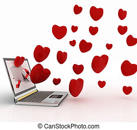 hearts take off from screen of lapt - hearts take off from...