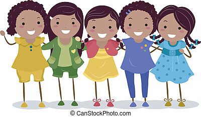 African-American Girl Group - Illustration of a Group of...