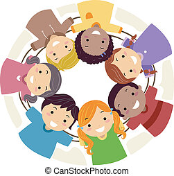 Teamwork - Illustration of Kids Huddled Together in a Cirle