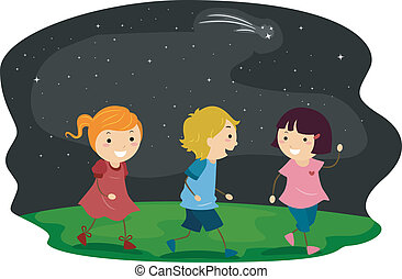 Starry Sky - Illustration of Kids Taking a Walk with Starry...