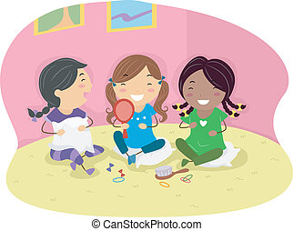 Slumber Party - Illustration of Girls Having a Slumber Party