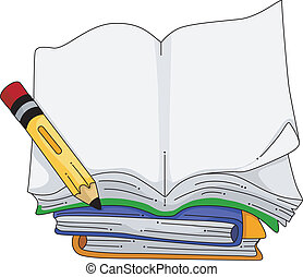 Notebook - Illustration of a Pencil Sitting Beside a Blank...