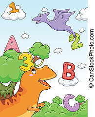 Dinosaur Alphabet - Illustration of Numbers and Letters of...