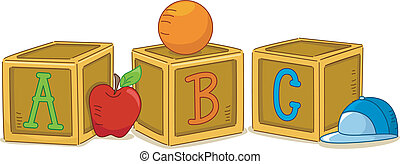 Woodblocks ABC - Illustration of Wood Blocks with the...