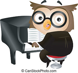 Pianist Owl - Illustration of a Nerdy Owl Playing the Piano