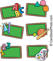 School Subjects Icons - Illustration of Blackboards with...
